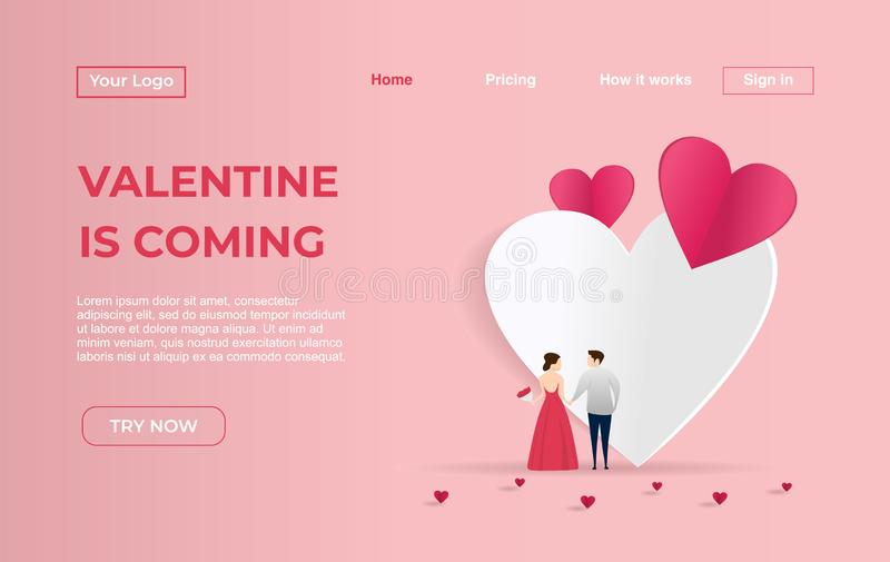 Landing page template of Couple with Dating Apps Illustration Concept. Modern flat design concept of web page design for website. Awesome Landing page template vector illustration