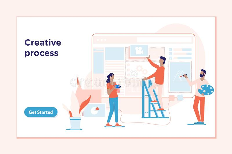 Landing page template of Creative process.The process of developing interface for pc vector illustration