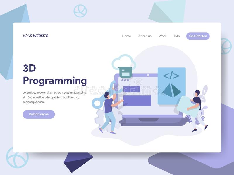 Landing page template of 3D Programming Illustration Concept. Isometric flat design concept of web page design for website and. Mobile website.Vector royalty free illustration