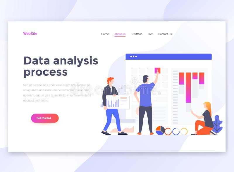 Flat Modern design of wesite template - Data analysis process stock illustration