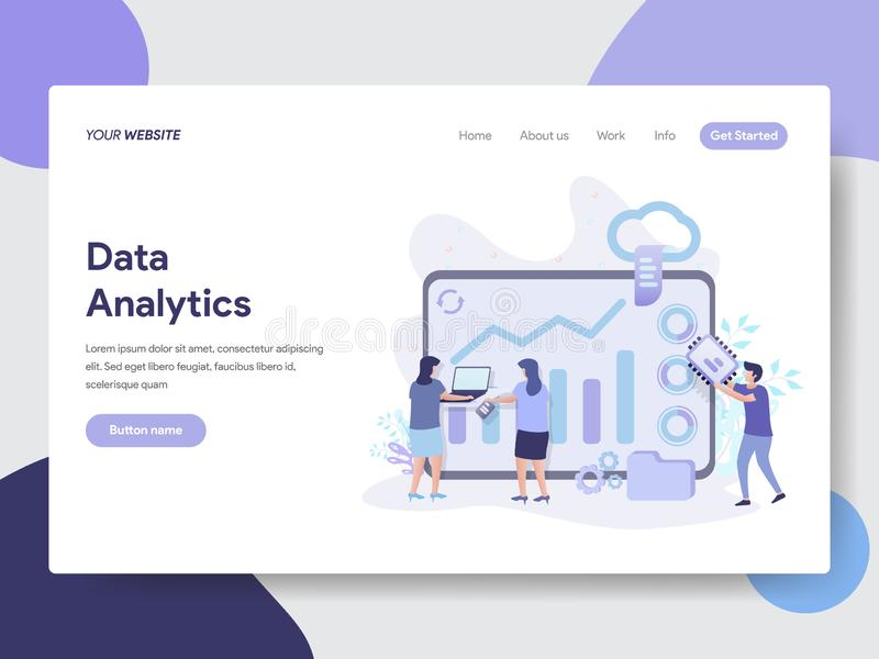 Landing page template of Data Analytics Illustration Concept. Modern flat design concept of web page design for website and mobile vector illustration