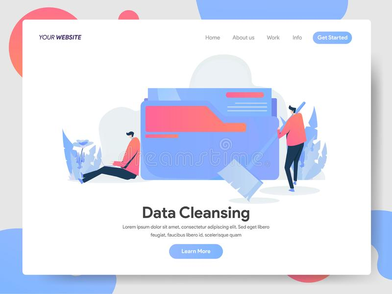 Landing page template of Data Cleansing Illustration Concept. Modern design concept of web page design for website and mobile. Website.Vector illustration EPS stock illustration