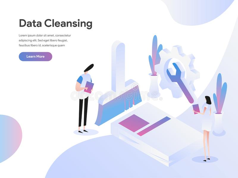 Landing page template of Data Cleansing Isometric Illustration Concept. Isometric flat design concept of web page design for. Website and mobile website.Vector royalty free illustration