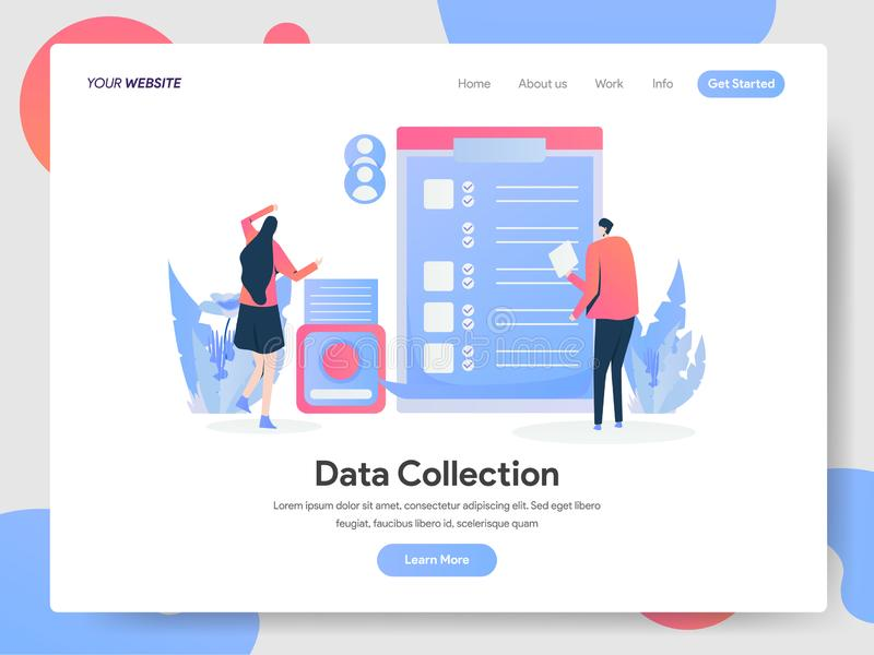 Landing page template of Data Collection Illustration Concept. Modern design concept of web page design for website and mobile royalty free illustration