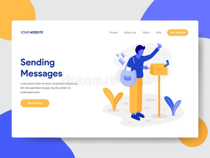Landing page template of Deliveryman with Mailbox Illustration Concept. Modern flat design concept of web page design for website stock illustration