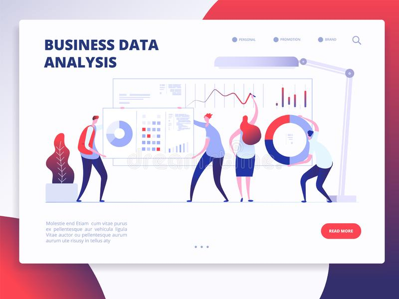 Landing page template. Digital Marketing analyst, marketing business website vector design with cartoon people. Illustration of analysis business data stock illustration