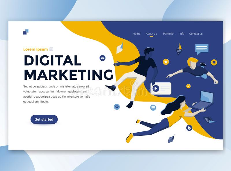 Flat Modern design of wesite template - Digital Marketing. Landing page template of Digital Marketing. Modern flat design concept of web page design for website stock illustration