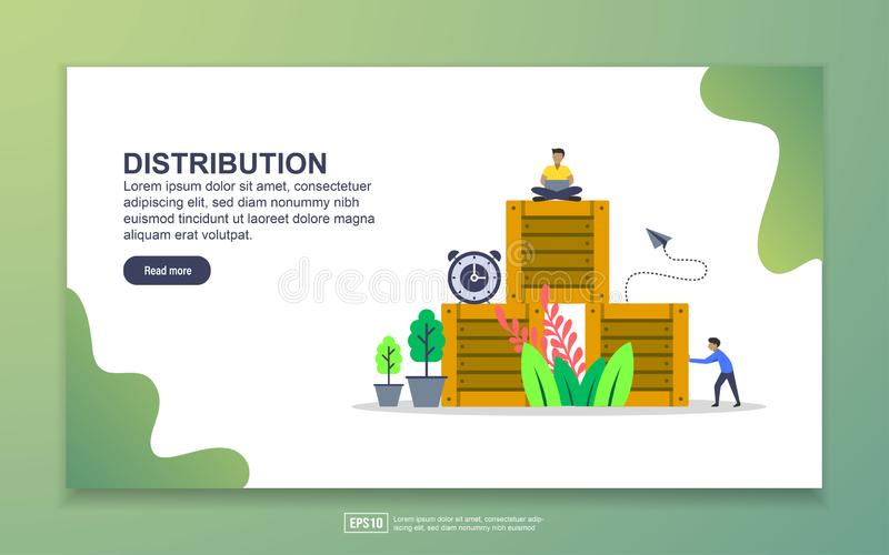Landing page template of Distribution. Modern flat design concept of web page design for website and mobile website. Easy to edit vector illustration