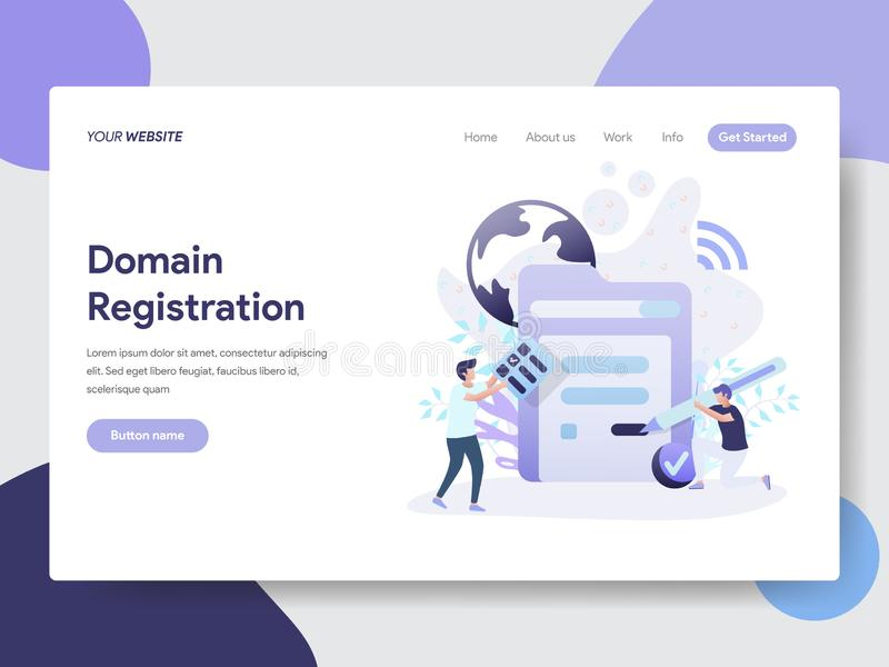 Landing page template of Domain Registration Illustration Concept. Modern flat design concept of web page design for website and. Mobile website.Vector stock illustration