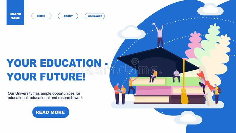 Landing page template of education. Modern flat design concept of web page design for website and mobile website. Easy to edit and royalty free illustration