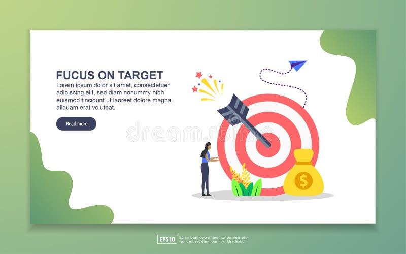 Landing Page Template für den Fokus auf das Ziel Modernes Flachdesign-Konzept für Web-Seiten-Design für Websites und mobile Websi lizenzfreie abbildung