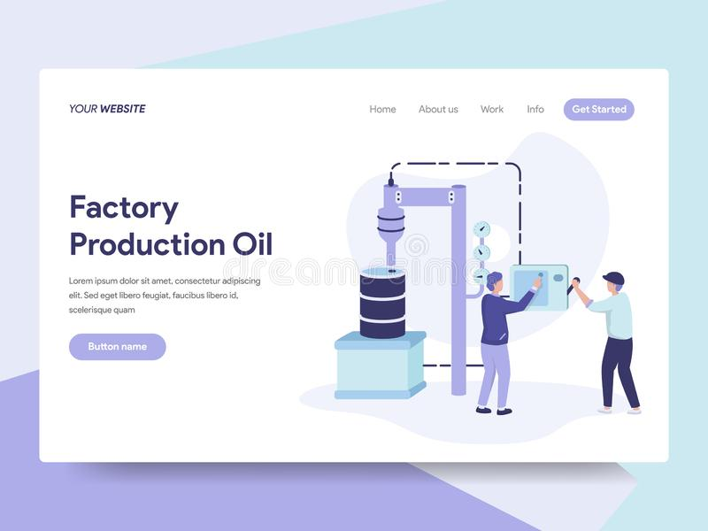 Landing page template of Factory Production Oil Illustration Concept. Isometric flat design concept of web page design for website vector illustration