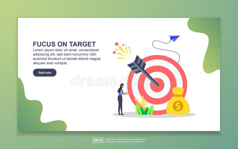 Landing page template of focus on target. Modern flat design concept of web page design for website and mobile website. Easy to. Edit and customize royalty free illustration
