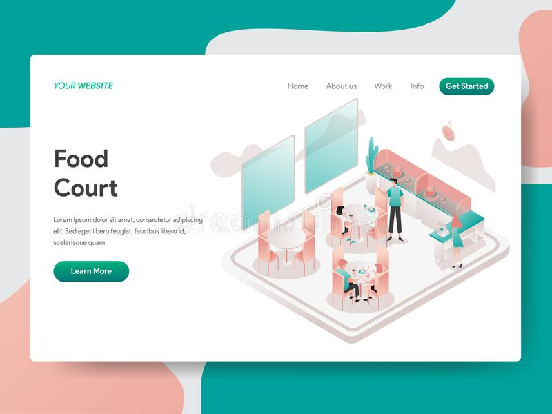 Landing page template of Food Court Illustration Concept. Isometric design concept of web page design for website and mobile. Website.Vector illustration royalty free illustration
