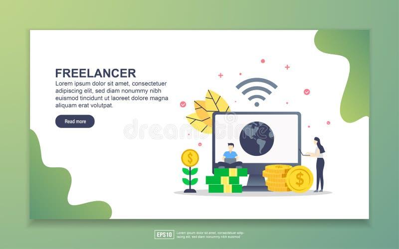 Landing page template of freelancer. Modern flat design concept of web page design for website and mobile website. Easy to edit vector illustration