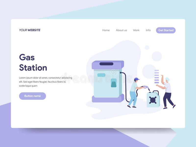 Landing page template of Gas Station Illustration Concept. Isometric flat design concept of web page design for website and mobile royalty free illustration