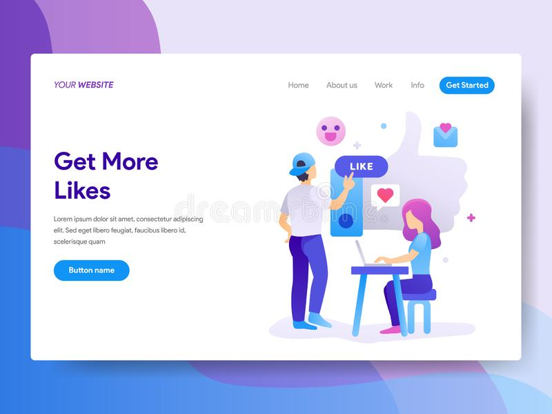Landing page template of Get More Likes Concept. Modern flat design concept of web page design for website and mobile website.Vect. Or illustration royalty free illustration