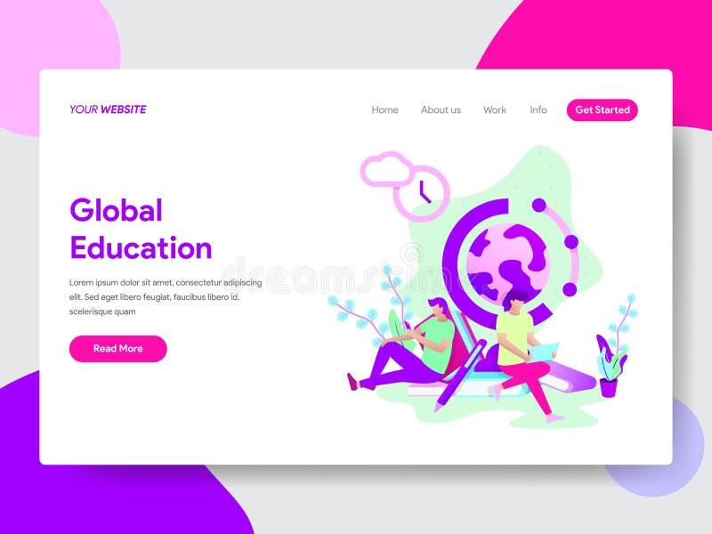 Landing page template of Global Education Illustration Concept. Modern flat design concept of web page design for website and. Mobile website.Vector royalty free illustration