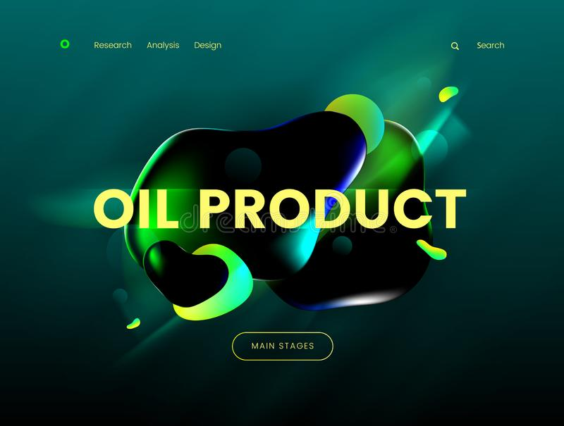 Landing page template with a green background color and abstract liquid shapes, can be used for gas, petrol, gasoline. Industries, branding ecology cleen fuel royalty free illustration