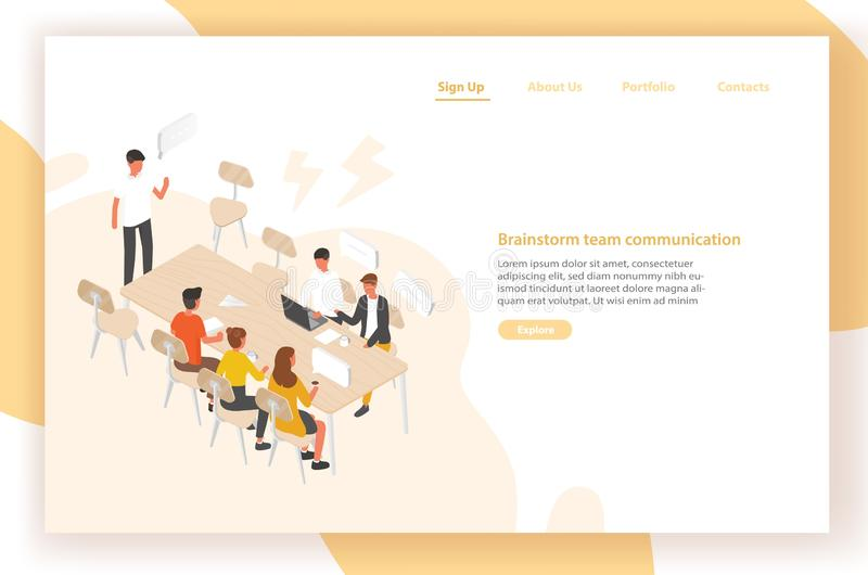 Landing page template with group of people or office workers sitting at table and talking to each other. Work meeting vector illustration