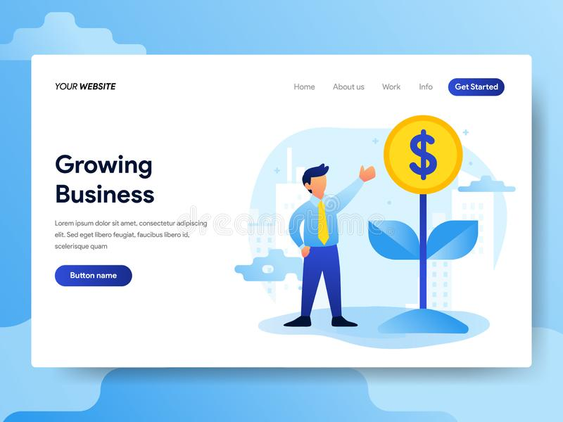 Landing page template of Growing Business Concept. Modern flat design concept of web page design for website and mobile website. Vector illustration royalty free illustration
