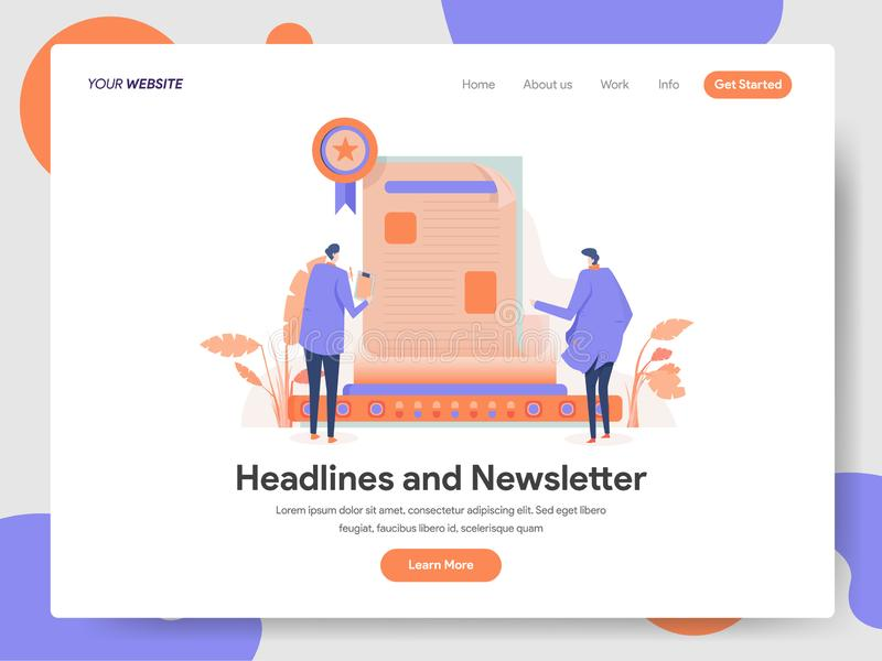 Landing page template of Headlines and Newsletter Illustration Concept. Modern design concept of web page design for website and. Mobile website.Vector royalty free illustration