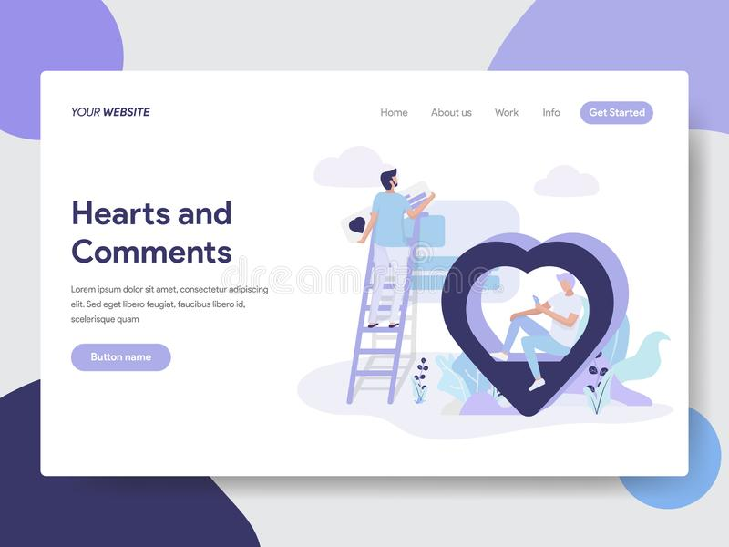 Landing page template of Hearts and Comment Illustration Concept. Modern flat design concept of web page design for website and. Mobile website.Vector royalty free illustration