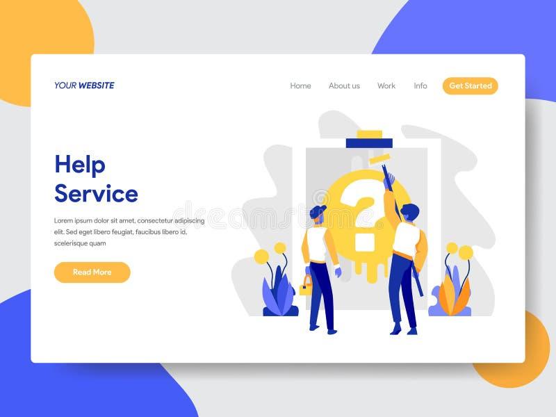 Landing page template of Help Service Concept. Modern flat design concept of web page design for website and mobile website.Vector vector illustration
