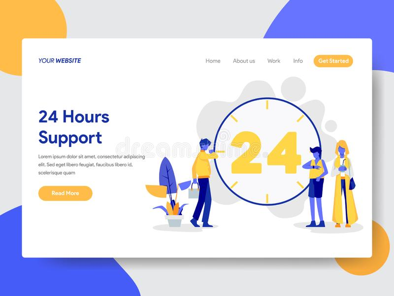 Landing page template of 24 Hours Live Support Illustration Concept. Modern flat design concept of web page design for website and royalty free illustration