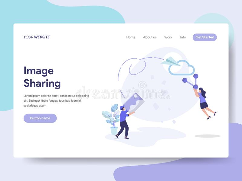 Landing page template of Image Sharing Illustration Concept. Isometric flat design concept of web page design for website and vector illustration