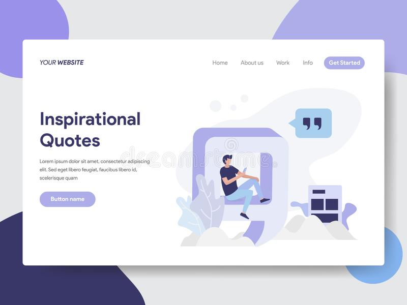 Landing page template of Inspirational Quotes Illustration Concept. Modern flat design concept of web page design for website and stock illustration
