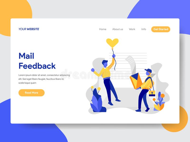 Landing page template of Mail Feedback Concept. Modern flat design concept of web page design for website and mobile website. royalty free illustration