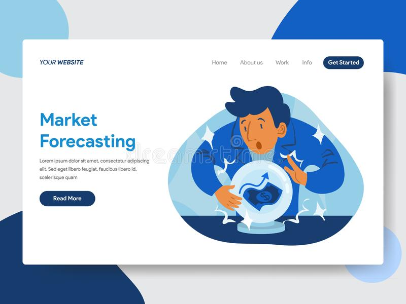 Landing page template of Market Forecast with Crystal Ball Illustration Concept. Modern flat design concept of web page design royalty free illustration