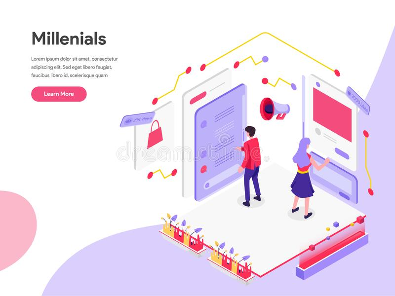 Landing page template of Millennials and Social Media Isometric Illustration Concept. Isometric flat design concept of web page. Design for website and mobile stock illustration
