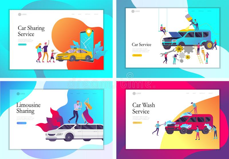Landing page template mobile city transportation, online limousine, car sharing with family character and smartphone vector illustration
