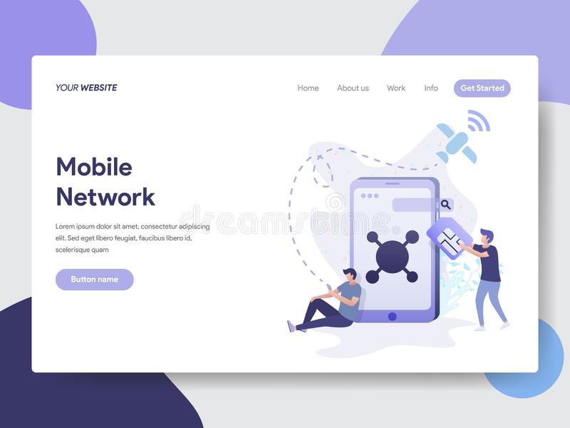 Landing page template of Mobile Network Illustration Concept. Modern flat design concept of web page design for website and mobile. Website.Vector illustration royalty free illustration
