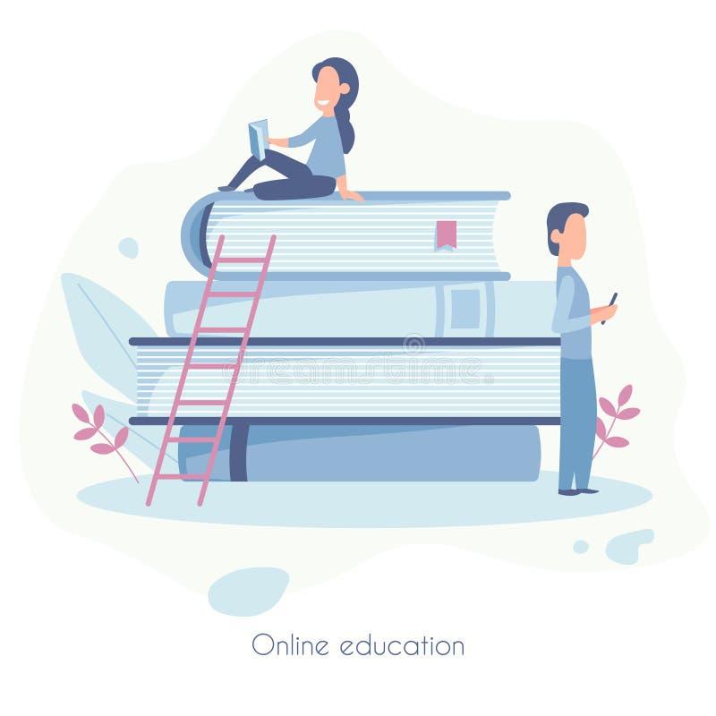 Landing page template of Online education. Modern flat design concept of web page design for website and mobile website stock illustration