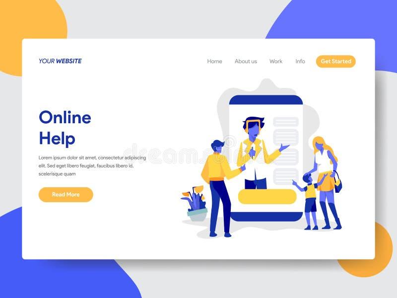 Landing page template of Online Help Illustration Concept. Modern flat design concept of web page design for website and mobile vector illustration