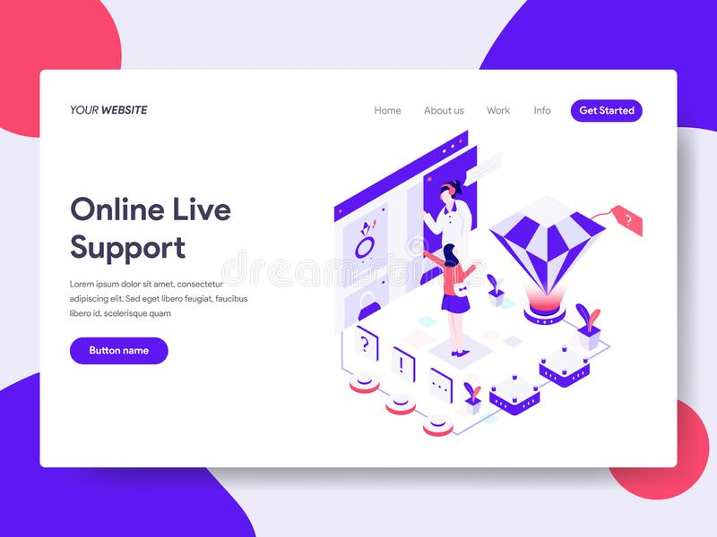 Landing page template of Online Live Support Illustration Concept. Isometric flat design concept of web page design for website stock illustration