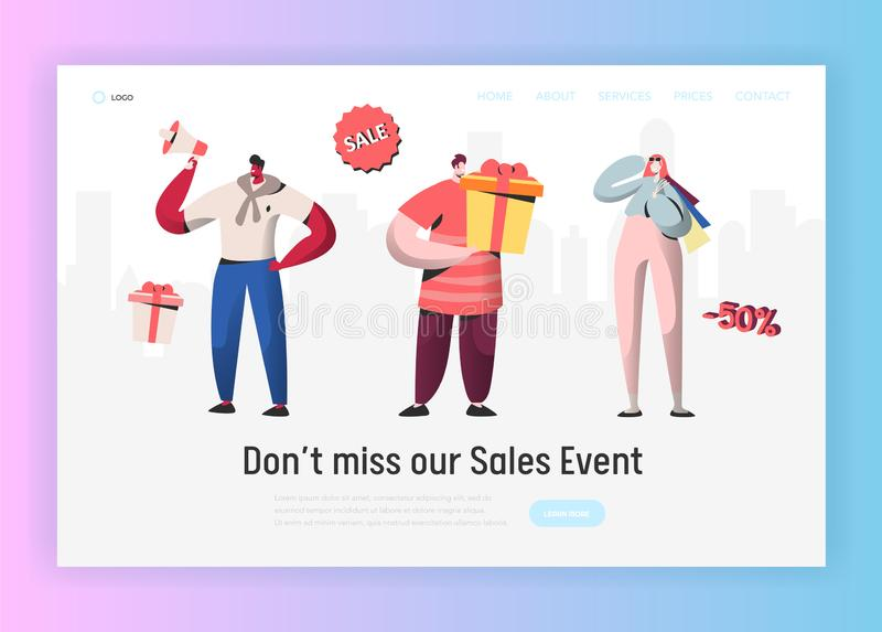 Landing page template of online Sale shopping Event. Modern design concept of website with People Characters Discount. Landing page template of online Sale vector illustration