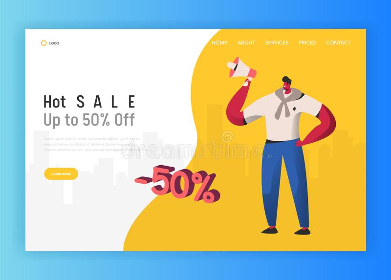 Landing page template of online Sale shopping. Modern design concept of website with Man Character Discount price. Landing page template of online Sale shopping vector illustration