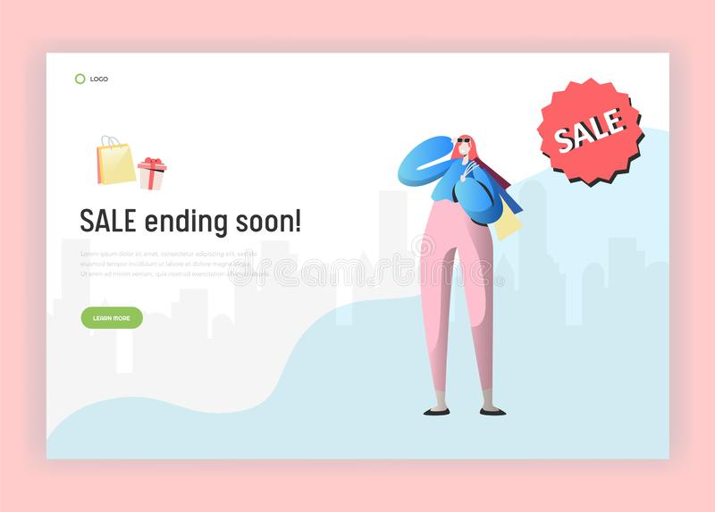 Landing page template of online Sale shopping. Modern design concept of website with Woman Character with Bags. And Purchases. Vector illustration stock illustration