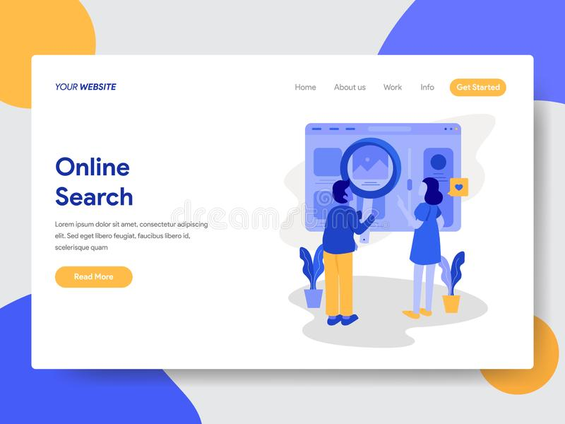 Landing page template of Online Search Illustration Concept. Modern flat design concept of web page design for website and mobile. Website.Vector illustration stock illustration