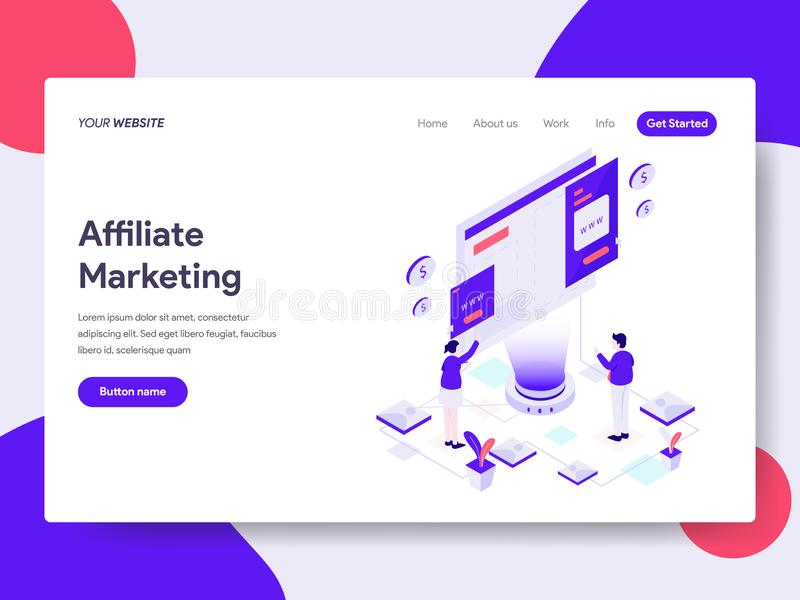 Landing page template of Online Shopping Affiliate Marketing Illustration Concept. Isometric flat design concept of web page stock illustration