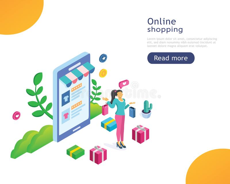 Landing page template of Online Shopping. Modern flat design concept of web page design for website and mobile website vector illustration