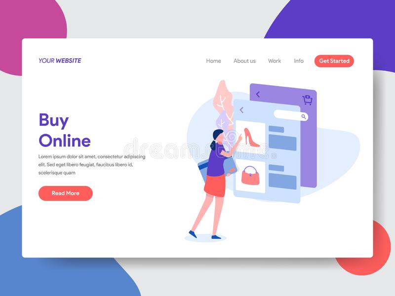 Landing page template of Online Shopping. Modern flat design concept of web page design for website and mobile website.Vector. Illustration stock illustration