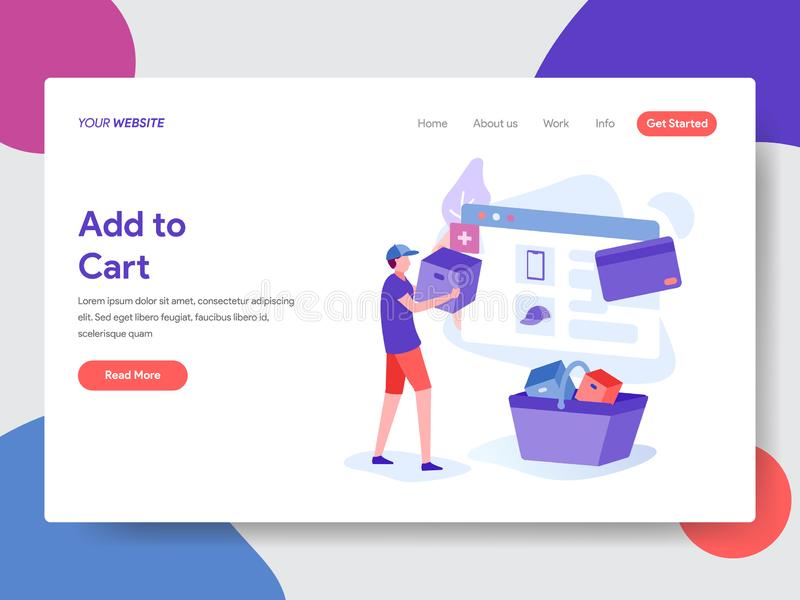 Landing page template of Online Shopping. Modern flat design concept of web page design for website and mobile website.Vector. Illustration royalty free illustration