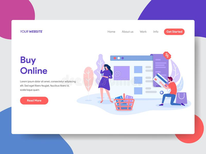 Landing page template of Online Shopping. Modern flat design concept of web page design for website and mobile website.Vector. Illustration vector illustration