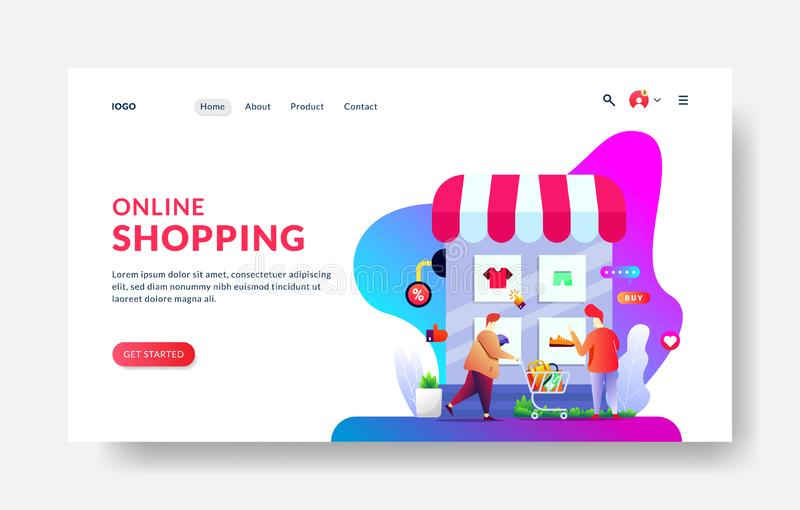 Landing page template of Online Shopping. Modern flat design concept of web page design for website and mobile website. Vector vector illustration