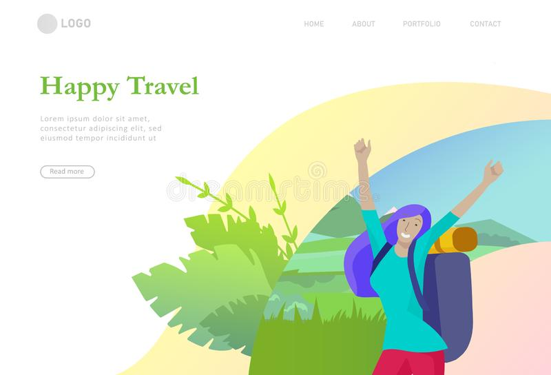 Landing page template. People characters woman for hiking and trekking, holiday travel vector, hiker and tourism royalty free illustration